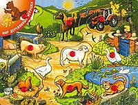 """Деревянная рамка-вкладыш """"Деревенский дворик 1"""" для детей от 1 года ТМ """"Игрушки из дерева"""" Р 21"""
