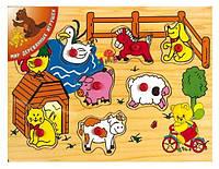 """Деревянная рамка-вкладыш """"Деревенский дворик 2"""" для детей от 1 года ТМ """"Игрушки из дерева"""" Р 23"""