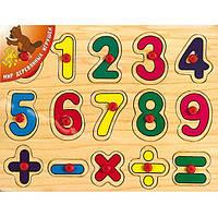 """Деревянная рамка-вкладыш """"Цифры знаки"""" для детей от 3 лет ТМ """"Игрушки из дерева"""" Р 28"""