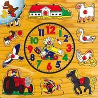 """Деревянная рамка-вкладыш Часы """"Домашние животные"""" для детей от 3 лет ТМ """"Игрушки из дерева"""" Р 35"""