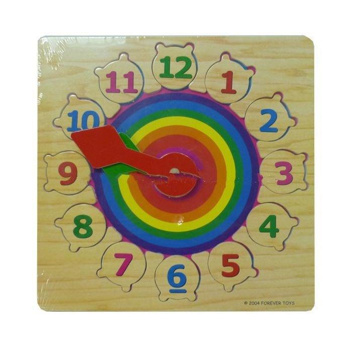 """Дерев'яна рамка-вкладиш годинник """"Веселка"""" для дітей від 2 років ТМ """"Іграшки з дерева"""" Р 01"""