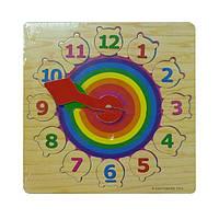 """Деревянная рамка-вкладыш часы """"Радуга"""" для детей от 2 лет ТМ """"Игрушки из дерева"""" Р 01"""