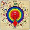 """Дерев'яна рамка-вкладиш годинник """"Веселка"""" для дітей від 2 років ТМ """"Іграшки з дерева"""" Р 01, фото 3"""