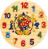 """Деревянная рамка-вкладыш часы """"Цифры"""" для детей от 2 лет ТМ """"Игрушки из дерева"""" Р 02"""