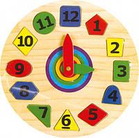 """Деревянные часы-вкладыш """"Геометрия"""" для детей от 2 лет ТМ """"Игрушки из дерева"""" Р 03"""