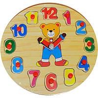 """Деревянные часы-вкладыш """"Мишка"""" для детей от 2 лет ТМ """"Игрушки из дерева"""" Р129"""