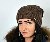 """Стильная шапка для девушек """"Аннабель"""" шоколад."""