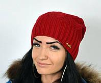 """Вязанная шапка. Женские шапки """"Джейн"""" красный."""