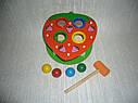 Деревянные игрушки стучалка забей шарик Клубника, фото 2