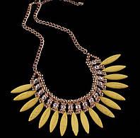Ожерелье Модные Леди желтое/бижутерия/цвет цепочки золото