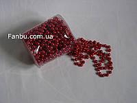 """Декор"""" Нить бусин d=6мм""""цвет красный(1 упаковка 9.5-10метров)"""