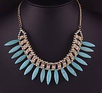 Ожерелье Модные Леди голубое/бижутерия/цвет цепочки золото