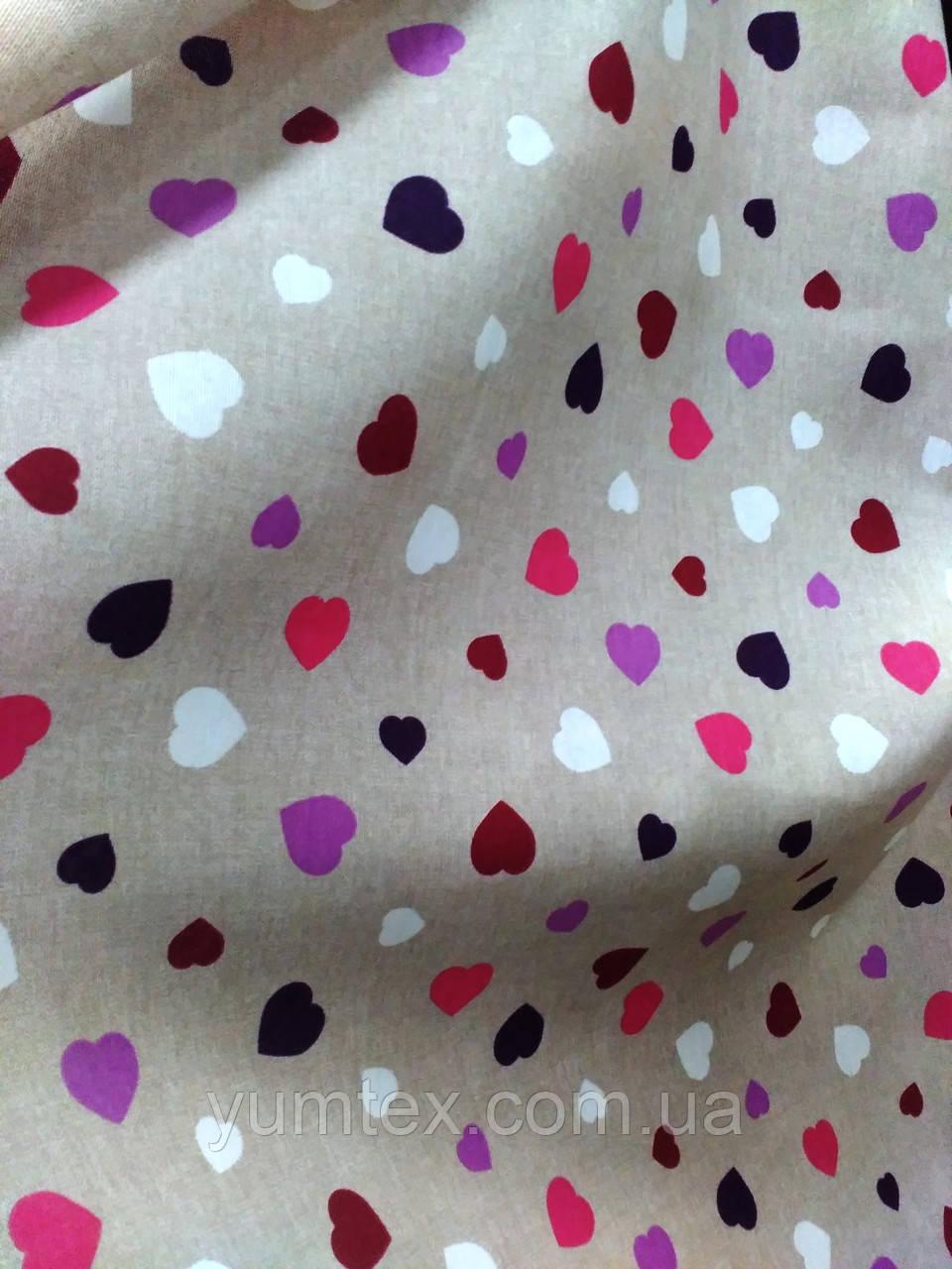 Ткань для детской Сердечки разноцветные, цвет № 1