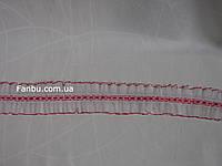 Лента с рюшами двусторонняя,цвет бело-красный(ширина 5.5 см)