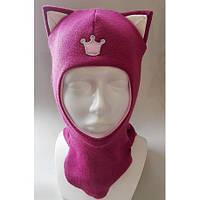 Зимняя шапка-шлем для девочки с ушками шерстяная с холлофайбером