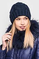 Новая очень теплая шапка темно синяя sk house