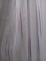 Белый шифон c сиреневыми вертикальными штрихами (Китай)