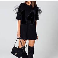 """Платье в стиле """" беби долл"""" , плательный креп и страусиный перья,цвет черное вш№ 905"""