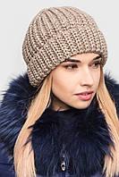 Новая очень теплая шапка бежевая sk house