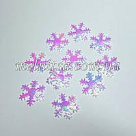 Снежинки на тканевой основе,  перламутровые (10 шт)