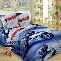 Ткань для  детского постельного бязь Мотокрос2 (Мотоциклы)