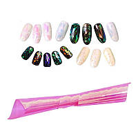 Фольга для ногтей, битое стекло № 04, ширина 5 см, цвет неоново-розовый хамелеон