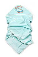 Детское полотенце для мальчика с капюшоном махровое для купания (95*95) ТМ Модный карапуз 03-00582-1 Бирюза