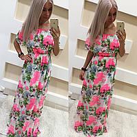 Шифоновое платье в пол с цветочным принтом