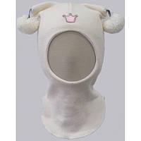 Шапка-шлем для девочки белая зимняя 100% шерсть на подкладе с бубончиками