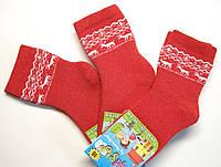Детские носки с оленями теплые красного цвета