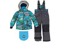 Зимний костюм для мальчика 5-7 лет р. 104-122 (куртка, полукомбинезон, манишка) ТМ Deux par Deux M 815A-124