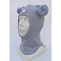 Детская шапка зимняя и шапка-шлем для девочки шерстяная на холлофайбере