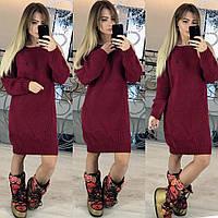Женское вязанное платье-свитер