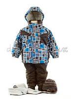 Зимний термокостюм для мальчиков 3-8 лет (куртка, полукомбинезон, шарф, манишка) р. 98-134 Deux par Deux