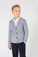 Кофточка(кардиган) на пуговицах для детей 4-9 лет (Р. 116-134) ТМ Модный карапуз Светло-серый 03-00676-1