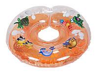 Круг для купания  младенцев на шею Дельфин EuroStandard  Оранжевый
