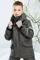 Куртка зимняя active для мальчика 5-9 лет, р. 110-122 ТМ Be easy Серый 2017D06-002