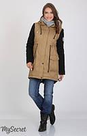 Куртка-парка Lex для беременных р. 44-50 ТМ Юла Мама Беж+черный OW-36.053