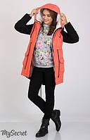 Куртка-парка Lex для беременных р. 44-50 ТМ Юла Мама Коралл+черный OW-36.051
