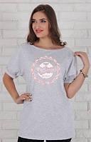Летняя футболка-туника Pacey для беременных р. 44-50  ТМ Юла Мама Серый TN-26.022