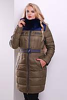 Стильный женский пуховик на зиму цвета хаки