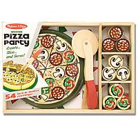 Набор деревянный - Пицца (Pizza Party) 63 элемента + ящичек для пиццы и ингредиентов ТМ Melissa & Doug MD10167