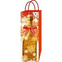Бумажный новогодний пакет для бутылки, фото 1