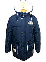 Детская зимняя куртка парка на мальчика подростка темно-синяя, р.36-46