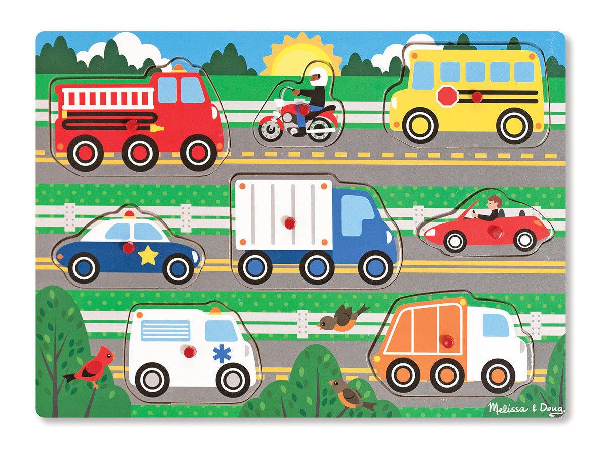 "Пазл ""Вгадай машинку"" NEW (Wooden Peg Puzzle - Vehicles) дерев'яна рамка-вкладиш ТМ Melіssa & Doug MD19051"