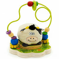 """Пальчиковый лабиринт с мягкой игрушкой """"Коровка"""" для детей от 1 года ТМ """"Игрушки из дерева"""" Д384"""