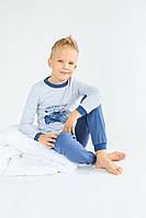 """Пижама детская """"Мотоклуб"""" для мальчика 4-7 лет из интрелока р. 110-122 ТМ Модный карапуз Серо-синий 03-00674-1"""