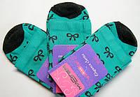 Высокие женские носки бирюзовые с рисунком