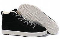 Мужские зимние кроссовки Adidas Ransom Fur высокие черные замша мех