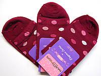 Носки женские бордовые в горошек высокие